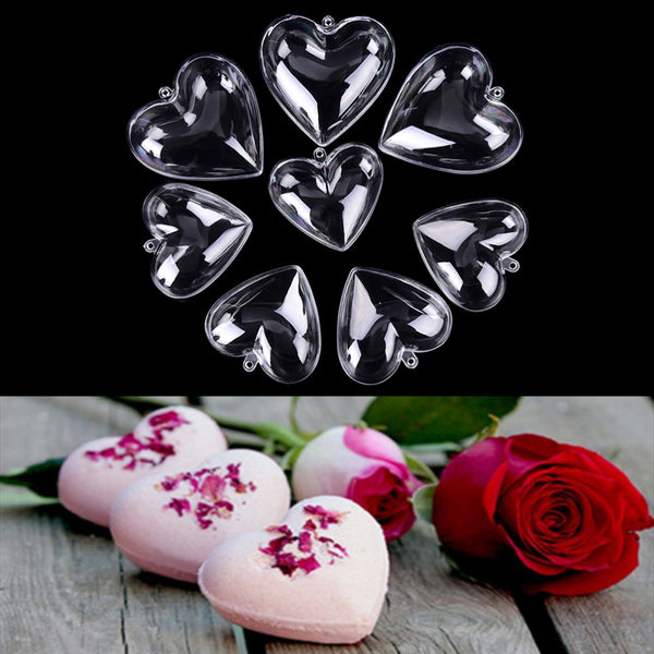 2Pcs 65/80mm Heart Shape DIY clear plastic bath bomb mould acrylic mold