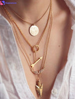 SUSENSTONE Fashion Women Necklaces Multilayer Irregular Crystal Gold Pendant Chain Statement Necklace  Suzie