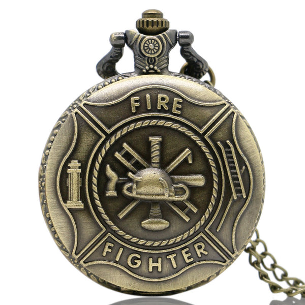 Cool Fire Fighter Theme 3D Bronze Fob Quartz Pocket Watches with Necklace Chain Fashion Pendant Gift for Men Children