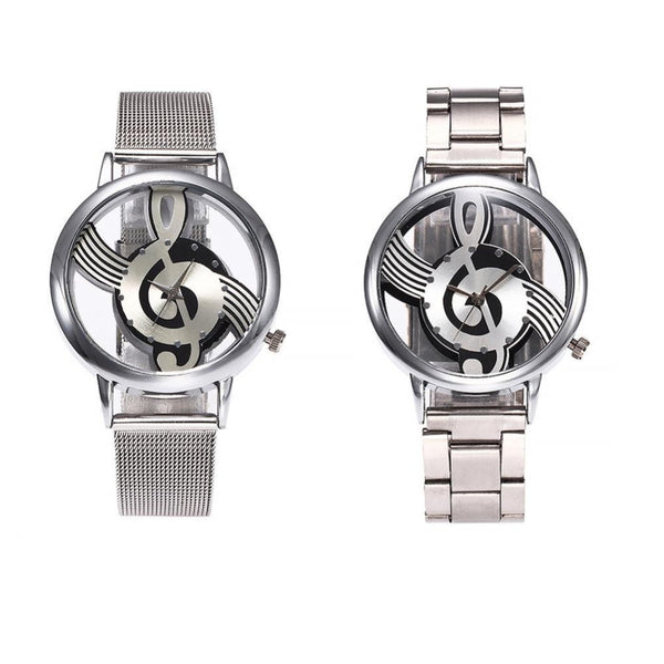 Luxury Retro double-sided hollow Music Note Notation Watch Men Women Mesh Watches Stainless Steel Quartz Wrist Watches Clock