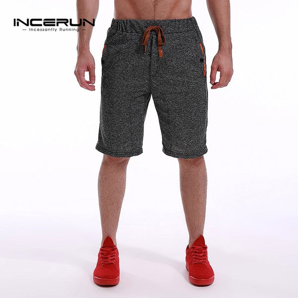 INCERUN Summer Knee Length Shorts Men Leisure Bermuda shorts Man Joggers Sporting Drawstring Fleece Shorts Sportswear Plus Size