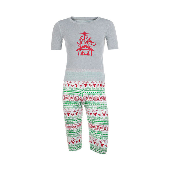 Man Family Matching Christmas Pajamas Set Blouse +Santa Printing Pants