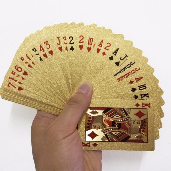 Golden Playing Cards Game Luxury Gold Foil Poker Set Grid Plastic Foil Poker Durable Waterproof Cards Gift Collection