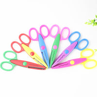 1 PCS Laciness Scissors Metal and Plastic DIY Scrapbooking Photo Colors Scissors Paper Lace Diary Decoration with 6 Patterns