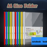 candy color A4 transparent plastic folder document insert file data notebook book cover holder clip school office  organizer
