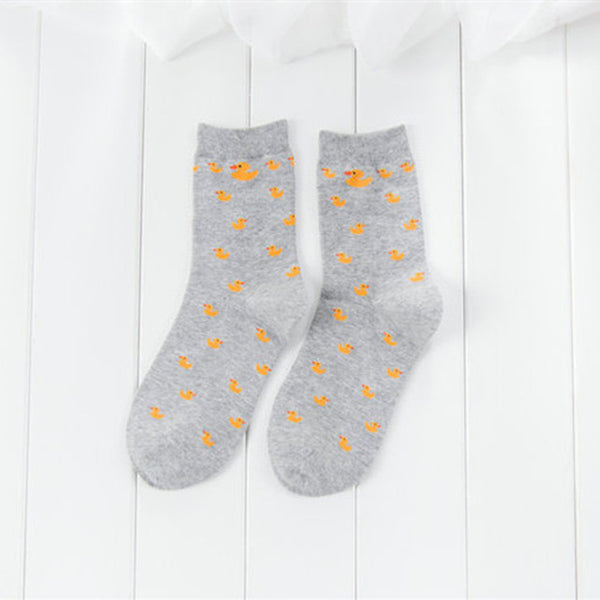 Cartoon Cute Animal Duck Pattened Short Socks Fashion Cute Women Funny Socks Female Casual Cotton Ankle Socks Harajuku Sox