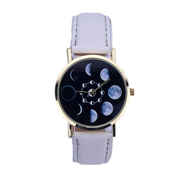 2017 NEW arrival Women watches Lunar Eclipse Pattern Leather Analog Quartz Wrist watch women men watch bayan kol saati relogio