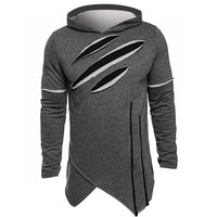 Autumn Fashion Men Hip Hop Hoodies Irregular Design Hooded Pullover Sweatshirts Casual Split Holes Slim Tops Outwear Plus Size