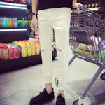 Summer Men's Ankle-length Pencil Pants Fashion Men White Slim Ripped Hole Pants Male Jeans Trousers Denim Pants with Zipper Type