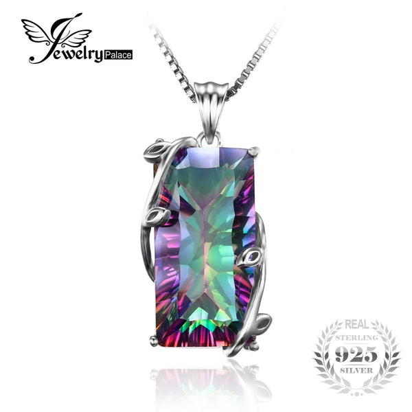 JewelryPalace Rectangle Luxury 15ct Natural Topaz Pendant Genuine 925 Sterling Silver Women Fine Vintage Jewelry Without a Chain