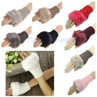 New Fashion Women Knitted Fingerless Winter Gloves Unisex Soft Warm Mitten