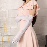 1 Pair Beauty Bride Glove Chic Womens Party Fancy Opera Prom Long Satin Stretch Gloves