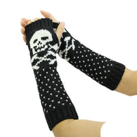 New Women Skull Knitted Wrist Arm Long Fingerless Mitten Winter Gloves Soft Warm