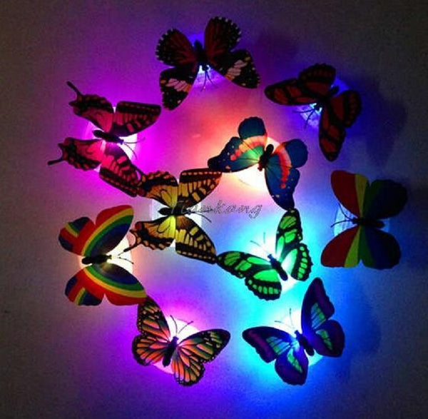 7 Color Changing Butterfly LED Night Light Lamp Hot 1 pcs Profeesioanl  with Suction Pad Home Romantic Decor