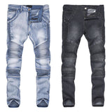 Fashion Men Streetwear Jeans Pants Ripped Pleated Skinny Slim Fit Long Pencil Trousers H9