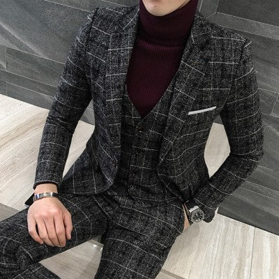 3pc Suit Men British Styl Latest Coat Pant Designs Royal Blue Mens Suit Autumn Winter Thick Slim Fit Plaid Wedding Dress Tuxedos