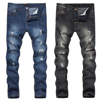 Fashion Men Streetwear Jeans Pants Ripped Holes Skinny Slim Fit Pencil Denim Long Trousers H9