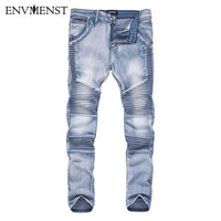 Envmenst 2017 New Fashion Autumn Winter Pleated Denim Pants High Quality Male Slim Fit Hole Zipper Long Jeans