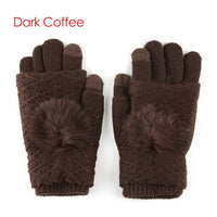 2017 New Detachable Dual Layer Winter Gloves Womens Warm Pompoms Fur Ball Fingerless Glove Screen Touch Cashmere Mittens Knit