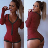 Preself Sexy Bodysuits rompers Bodycon Bandage Playsuit Women Slim Short Cotton Knitted Long Sleeve V-Neck Jumpsuit Autumn 2018