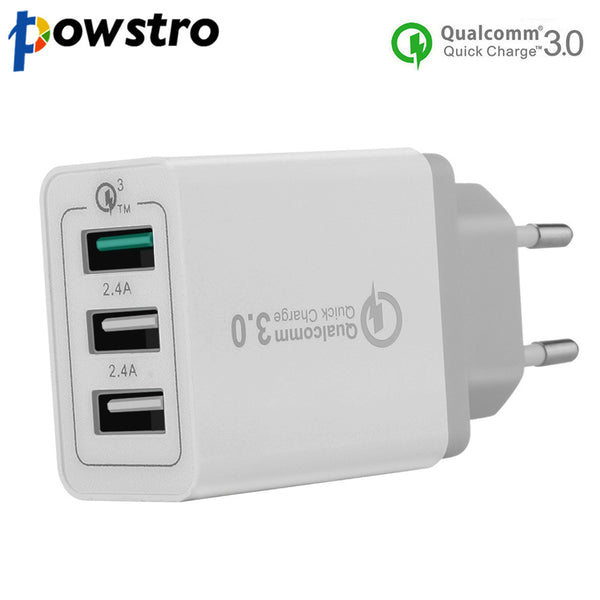 Powstro Qualcomm 3.0 Quick Charger 3-Ports QC3.0 USB Wall Charger Travel Adapter Support Smart Fast Charge For Samsung Galaxy S6