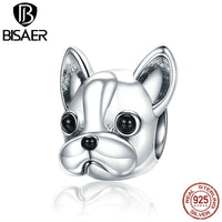 925 Sterling Silver English French Bulldog Lovely Dog, Cute Animal European Beads Charms Fit Original Bead DIY Jewelry Making