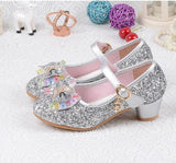 Children's Sequins Shoes Enfants 2018 Baby Girls Wedding Princess Kids High Heels Dress Party Shoes For Girl Pink Blue Gold