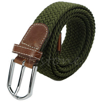 Mens Woven 4 Colors Hot Sell Canvas Plain Webbing Metal Buckle Woven Stretch Waist Belt High Quality