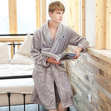 CR New Men Bathrobe V-Neck Long-sleeved Flannel Coral Fleece Warm Comfortable Pajamas Winter Style Men's Home Wear AP443
