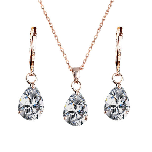 QCOOLJLY New Arrival Fashion Jewelry Gold Filled Jewelry Set Zircon Crystal Waterdrop Pendant Necklace Earrings Set For Women