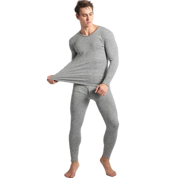 Ekouaer Winter Pyjamas Mens Long Sleeve Solid Slim Sleepwear O-Neck Nightwear Pajamas Set Homewear For Men Pyjama Home Pajama