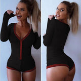 Preself Sexy Bodysuits Jumpsuit romper Bodycon Bandage Playsuit Women's Slim Short Cotton Knitted Long Sleeve V-Neck Autumn 2018