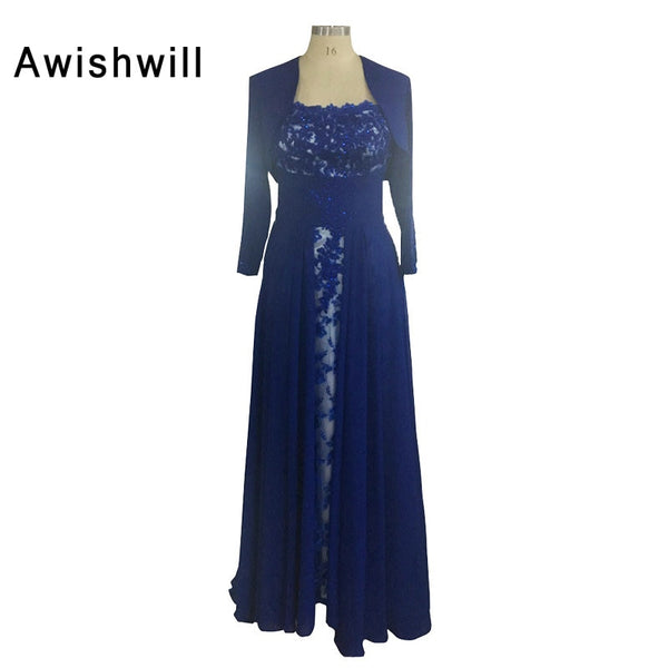 Royal Blue Long Formal Evening Gown Lace Chiffon With Three Quarter Sleeves Mother of the Bride Dresses With Jacket Custom Made