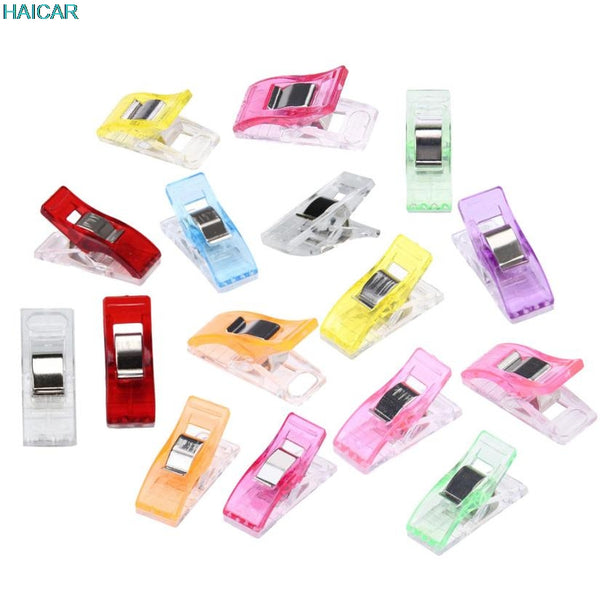 New Qualified 250PCS Colorful Housekeeping Clips Clear Sewing Craft Quilt Binding Plastic Clips Clamps Pack O107