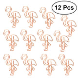 12pcs Flamingo Paper Clips Metal Card File Note Mark Bookmark Clips for Home Office School
