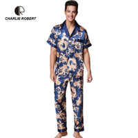 CR Printing Men Pajamas Short Sleeve Long Pants Spring Summer Autumn Style Emulation Silk Turn-down Collar Free Shipping AP455