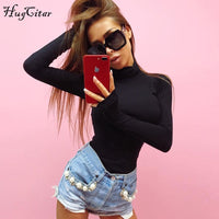 Hugcitar cotton long sleeve high neck skinny bodysuit 2017 autumn winter women black gray solid sexy body suit