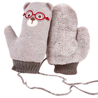New Winter Animal Picture Fashion Children's Gloves Girls Boys Of Winter Hanging Neck Thicken Hot Warm Gloves gantsenfant Mitten