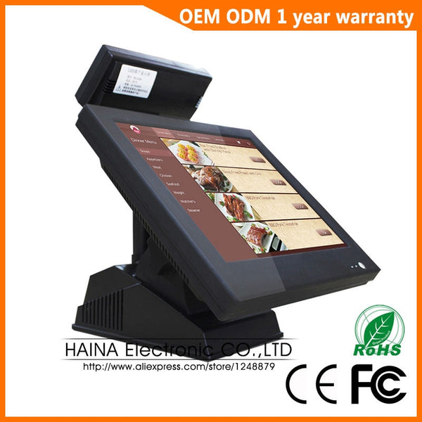 15 inch Supermarket Touch Screen Cash Register POS System with Customer display