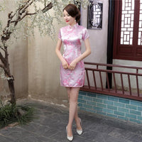 2018 New Red Chinese Women Traditional Dress Silk Satin Cheongsam Mini Sexy Qipao Flower Wedding Dress Size S M L XL XXL WC022