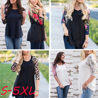 Women Plus Size Tops Long Sleeve O-Neck Casual Floral Print Shirt Blouse