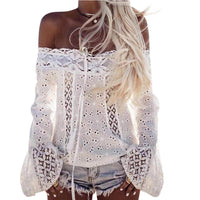 Women Off Shoulder Long Sleeve Lace Loose Blouse Tops T-Shirt