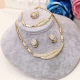 African Beads Jewelry Sets For Women Fine Wedding Pendant Statement CZ Crystal Collares Earrings Bracelet Finger Ring Set
