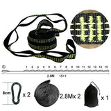 2 PCS Essential Can Hold 2000kg Out Door Camping Hiking Hammock Hanging Belt Hammock Strap Rope Accessories Load Bind Rope
