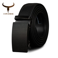 COWATHER Cow Genuine Leather Belts High Quality for Men Automatic Vintage Male Belt Brand Ratchet Buckle Belts 110-130cm long