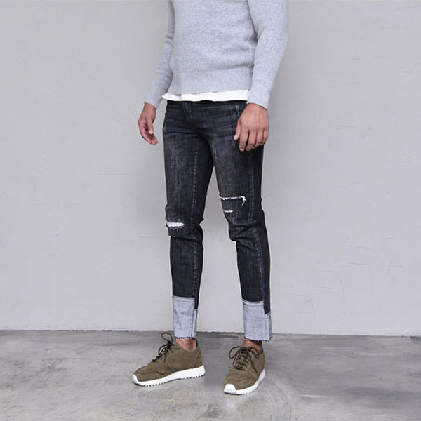 2017 Envmenst Brand Designed Ripped Jeans for Men Fashion Patch Hem Skinny Denim Pants Men's Biker Jeans Ankle-length Pants