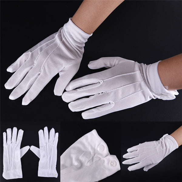 2017 White Cotton Gloves Formal Work Uniform Catering uniforms Magician Parades Inspection Five-fingers Women men's work gloves