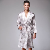 CR Printing Men Robe Spring Summer Style Emulation Silk Turn-down Collar Belt Bathrobe Free Shipping AP452