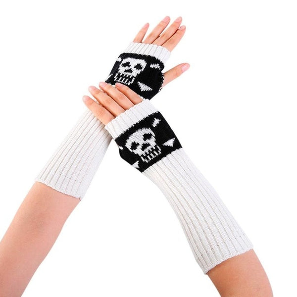 New Arrival Women Winter Wrist Arm Warmer Skull Knitted Long Fingerless Gloves Mittens fingerless driving gloves guantes mujer