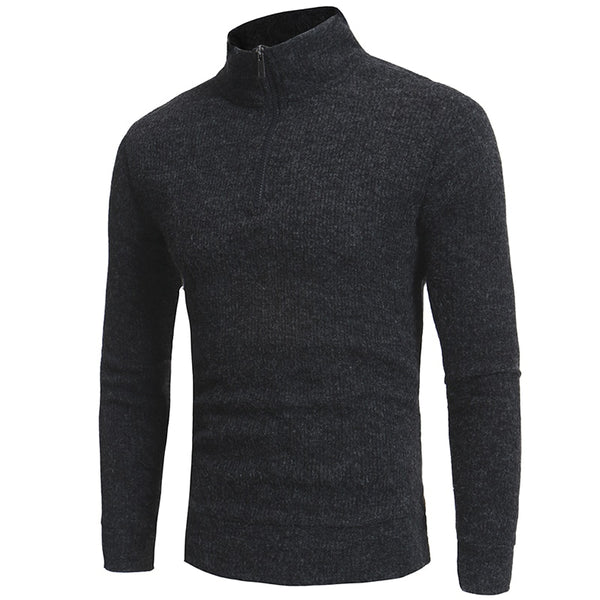 2017 new simple half zipper collar design men's casual slim knit sweater